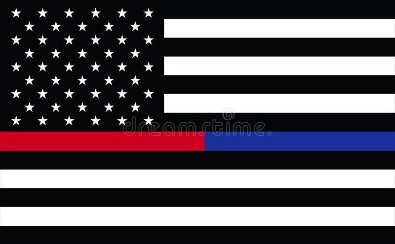 Premier répondeur Etats-Unis La ligne rouge mince mince de Blue Line a brodé U S Canons isolants en laiton de drapeau américain r illustration stock