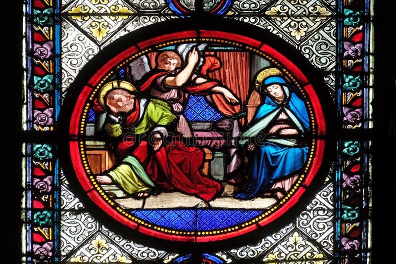 Premier r?ve de Joseph, r?v?lation de l'op?ration du Saint-Esprit images libres de droits