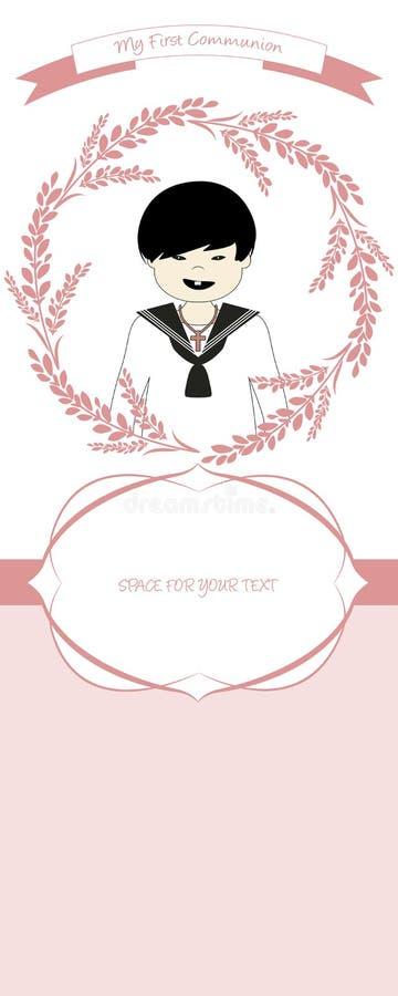 Premier rappel de célébration de communion Costume de port de communion de garçon mignon entouré par la guirlande de fleur illustration libre de droits