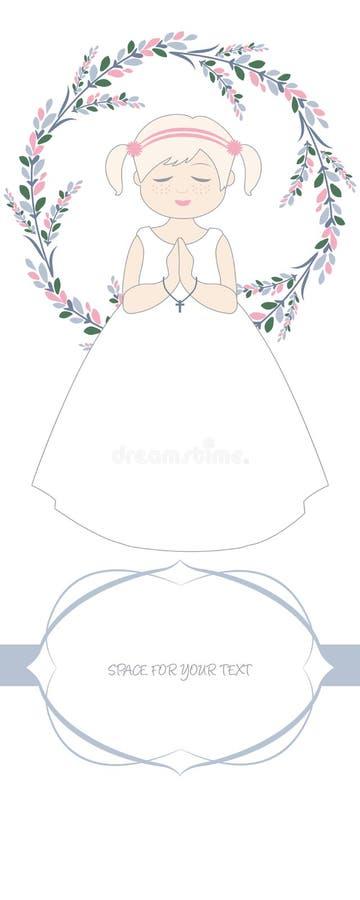 Premier rappel de célébration de communion Fille mignonne portant une robe blanche, entourée par la guirlande de fleur illustration de vecteur