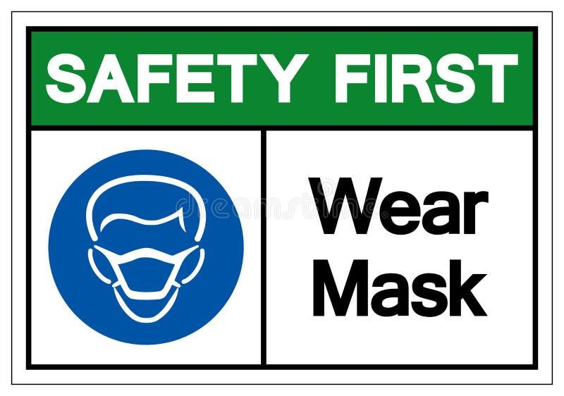 Premier signe de symbole de masque d'usage de sécurité, illustration de vecteur, isolat sur le label blanc de fond EPS10 illustration de vecteur