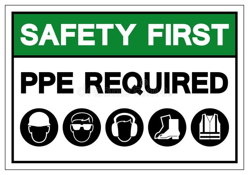 Premier signe de symbole requis par PPE de sécurité, illustration de vecteur, isolat sur le label blanc de fond EPS10 illustration de vecteur