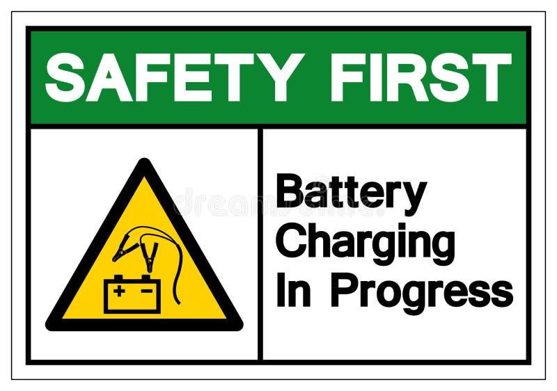 Premier signe en cours de symbole de chargement de batterie de sécurité, illustration de vecteur, isolat sur le label blanc de  illustration stock