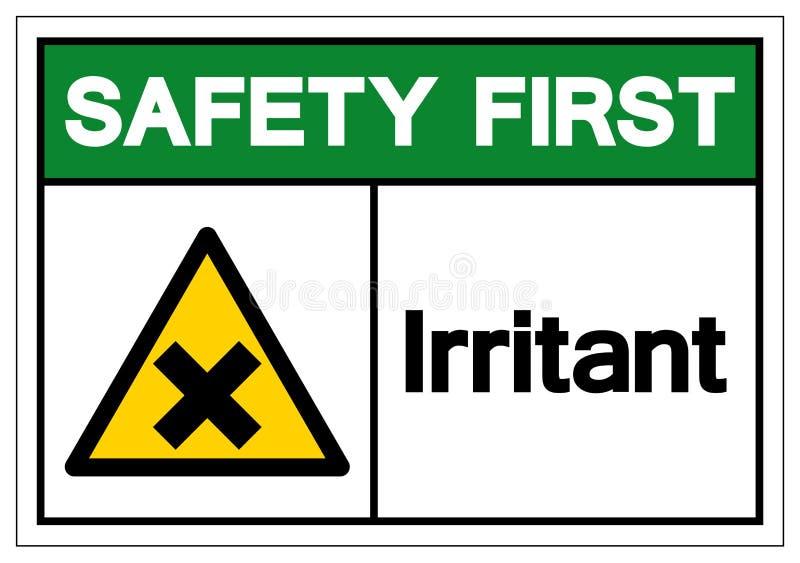 Premier signe irritant de symbole de sécurité, illustration de vecteur, d'isolement sur le label blanc de fond EPS10 illustration stock