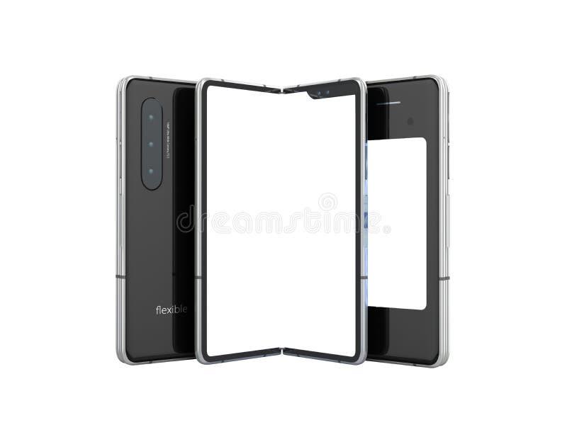 Premier téléphone flexible périodique 3d ne rendre sur le fond blanc aucune ombre illustration de vecteur