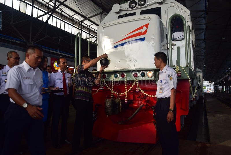 The premiere of Ambarawa express train journey. Officials from DAOP IV and the City Government of Semarang perform ceremonial celebration and the departure of stock images