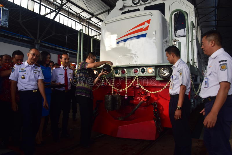 The premiere of Ambarawa express train journey. Officials from DAOP IV and the City Government of Semarang perform ceremonial celebration and the departure of royalty free stock photos