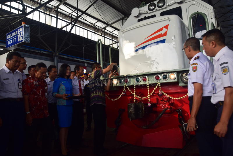 The premiere of Ambarawa express train journey. Officials from DAOP IV and the City Government of Semarang perform ceremonial celebration and the departure of stock photography