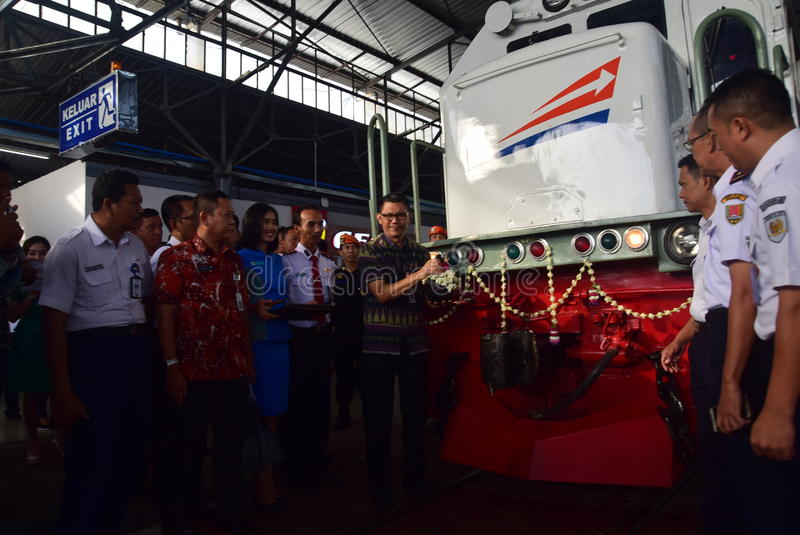 The premiere of Ambarawa express train journey. Officials from DAOP IV and the City Government of Semarang perform ceremonial celebration and the departure of royalty free stock image