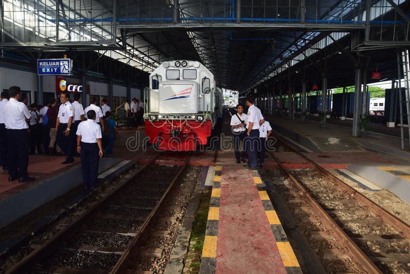 The premiere of Ambarawa express train journey. Officials from DAOP IV and the City Government of Semarang perform ceremonial celebration and the departure of stock image