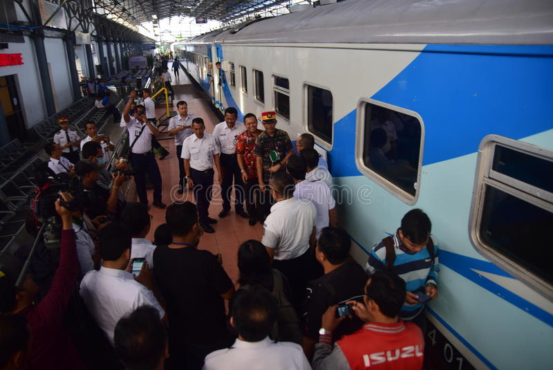 The premiere of Ambarawa express train journey. Officials from DAOP IV and the City Government of Semarang perform ceremonial celebration and the departure of stock photos