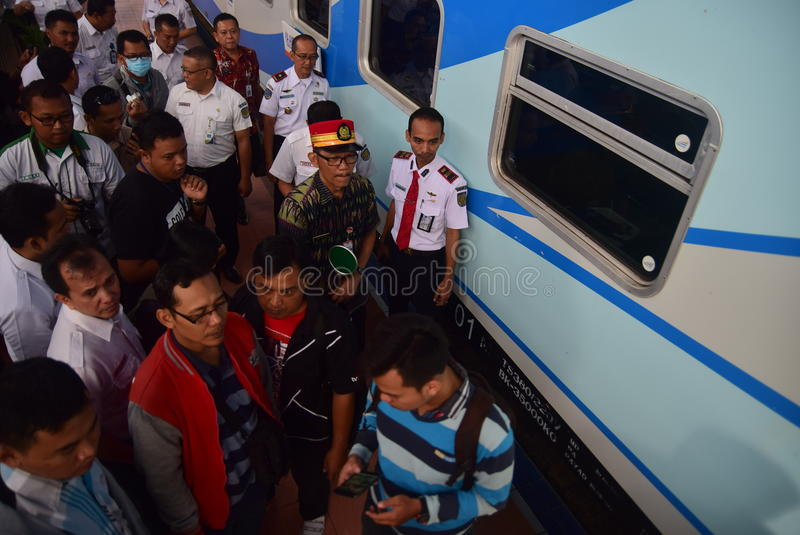 The premiere of Ambarawa express train journey. Officials from DAOP IV and the City Government of Semarang perform ceremonial celebration and the departure of royalty free stock photography