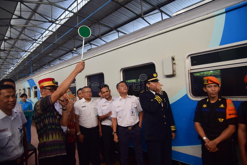 The premiere of Ambarawa express train journey. Officials from DAOP IV and the City Government of Semarang perform ceremonial celebration and the departure of royalty free stock images