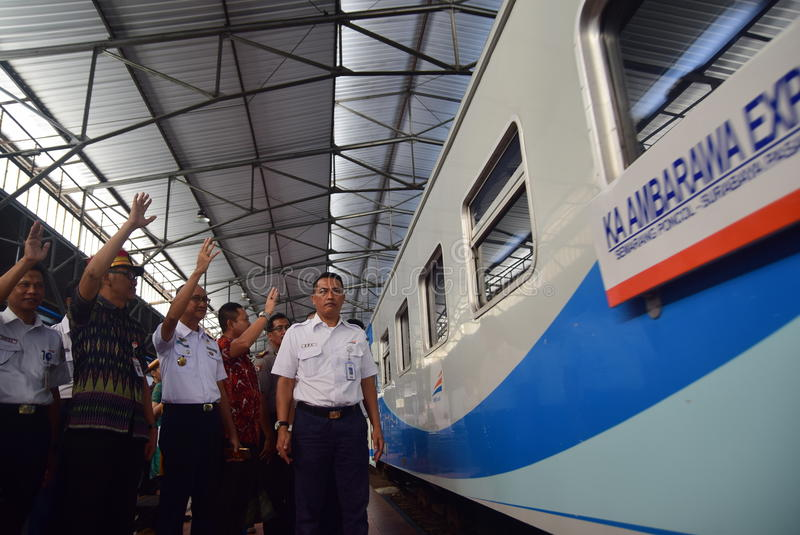The premiere of Ambarawa express train journey. Officials from DAOP IV and the City Government of Semarang perform ceremonial celebration and the departure of royalty free stock photo
