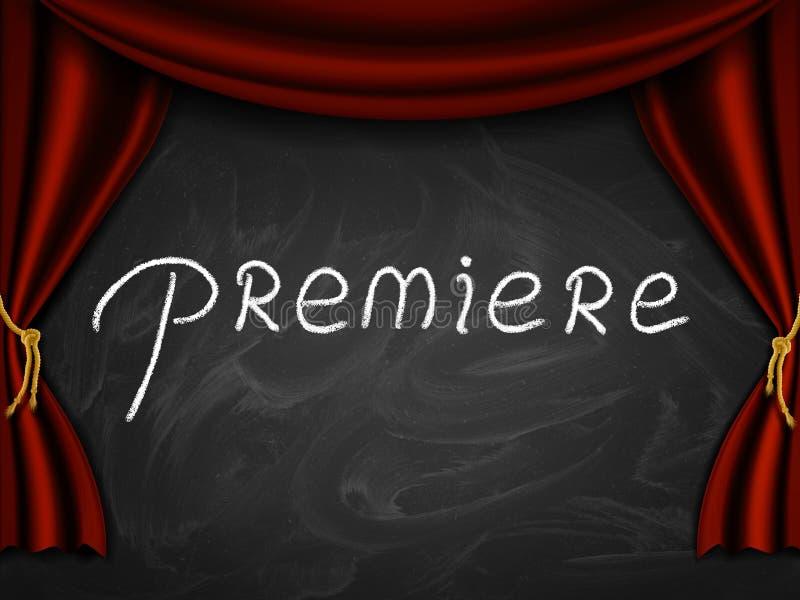 Premiere On Blackboard stock illustration