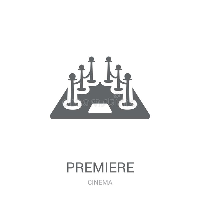 Premiere icon. Trendy Premiere logo concept on white background. From Cinema collection. Suitable for use on web apps, mobile apps and print media stock illustration