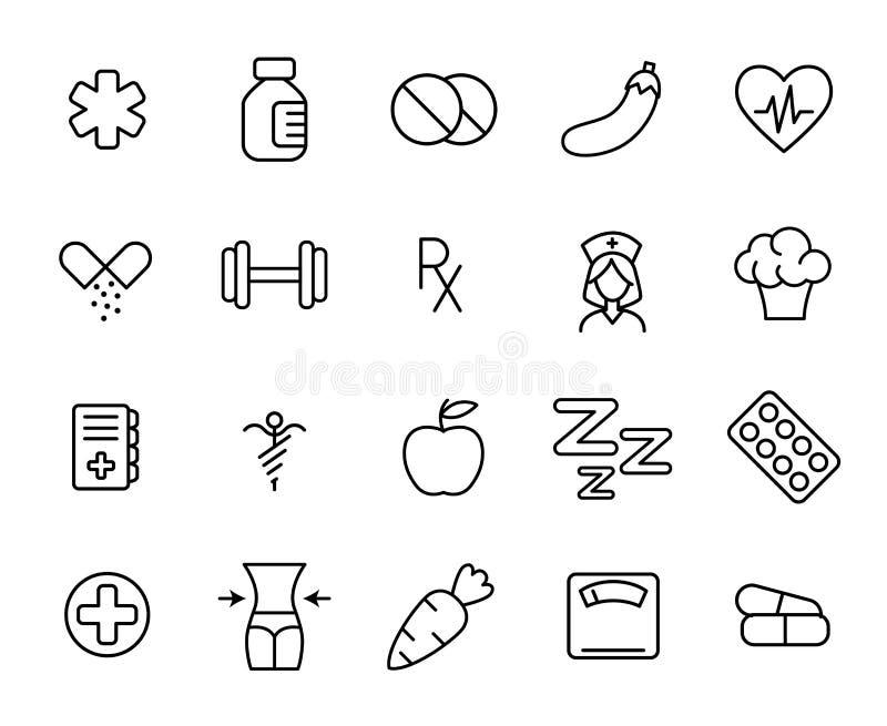 Premiereeks pictogrammen van de gezondheidslijn stock illustratie