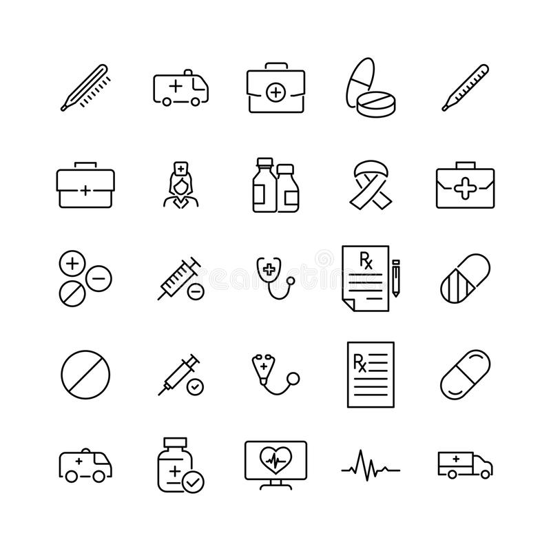 Premiereeks pictogrammen van de gezondheidslijn vector illustratie