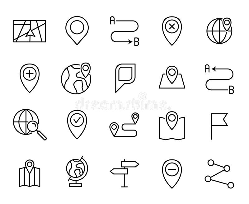 Premiereeks pictogrammen van de kaartlijn vector illustratie