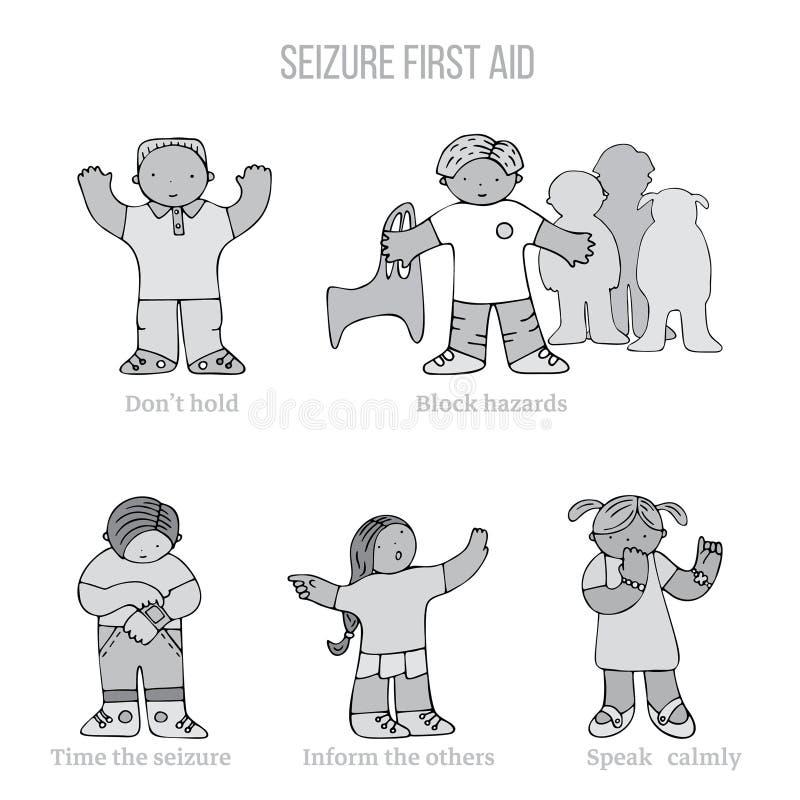 Premiers secours d'?pilepsie illustration libre de droits