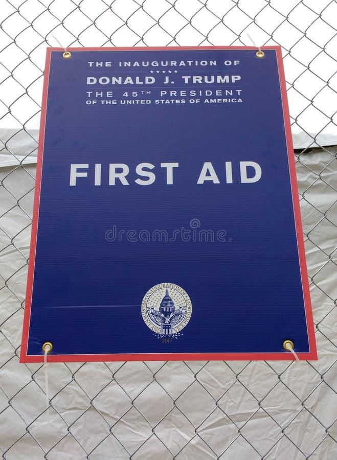 Premiers secours, l'inauguration de Donald Trump, quarante-cinquième président des USA, cinquante-huitième inauguration président image libre de droits