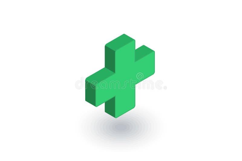 Premiers secours, pharmacie, icône plate isométrique croisée médicale vecteur 3d illustration stock