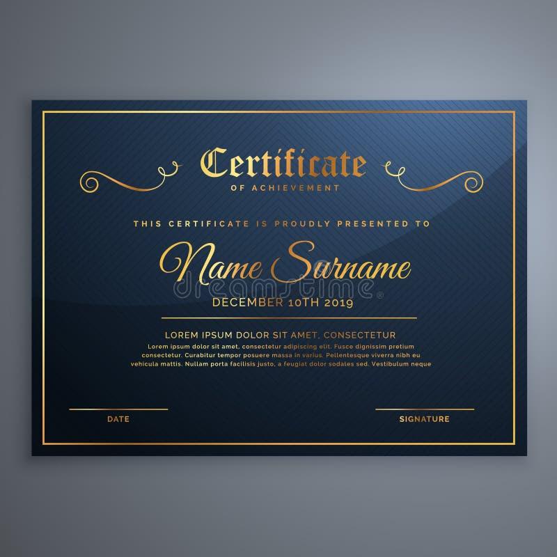 Premii świadectwa szablonu błękitny projekt w złotym stylu royalty ilustracja