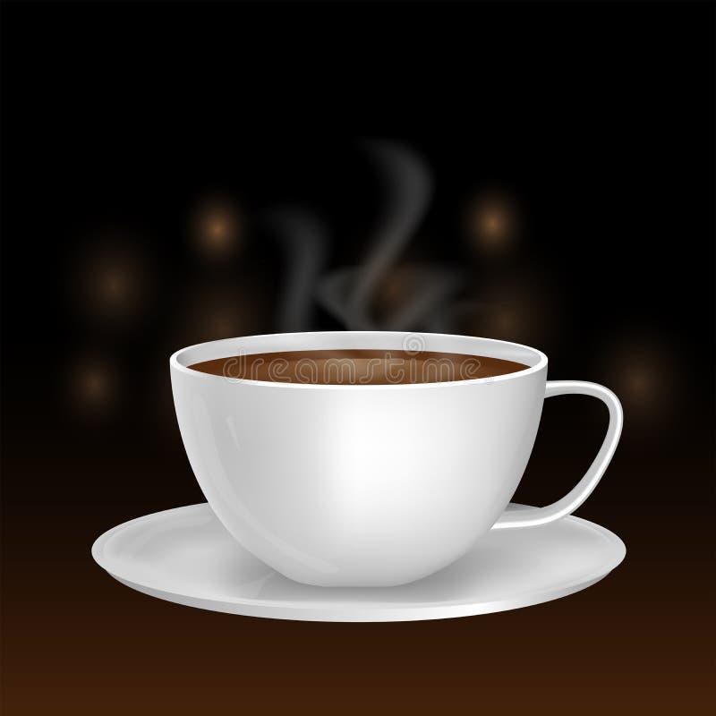 Premii biała ceramiczna filiżanka na bokeh tle kawa espresso wewnątrz royalty ilustracja