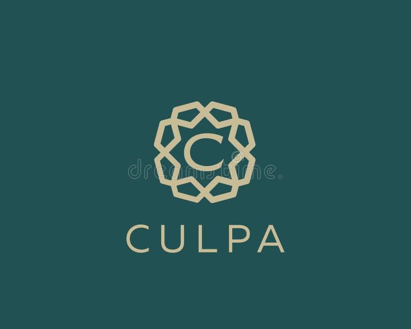 Premii C loga listowej ikony wektorowy projekt Luksusowy biżuterii ramy klejnotu krawędzi logotyp Druku monograma inicjałów znacz ilustracji