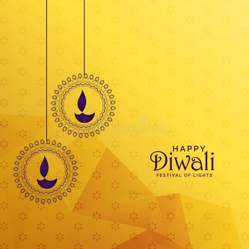 Premii diwali kartka z pozdrowieniami projekt z diya dekoracją royalty ilustracja