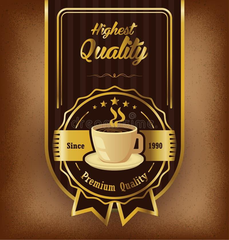 Premii etykietki kawowy projekt nad rocznika tłem royalty ilustracja
