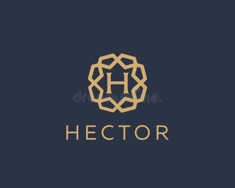 Premii H loga listowej ikony wektorowy projekt Luksusowy biżuterii ramy klejnotu krawędzi logotyp Druku monograma inicjałów znacz ilustracji