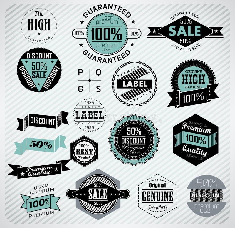Premii ilość, gwarancja i sprzedaży etykietki, ilustracja wektor