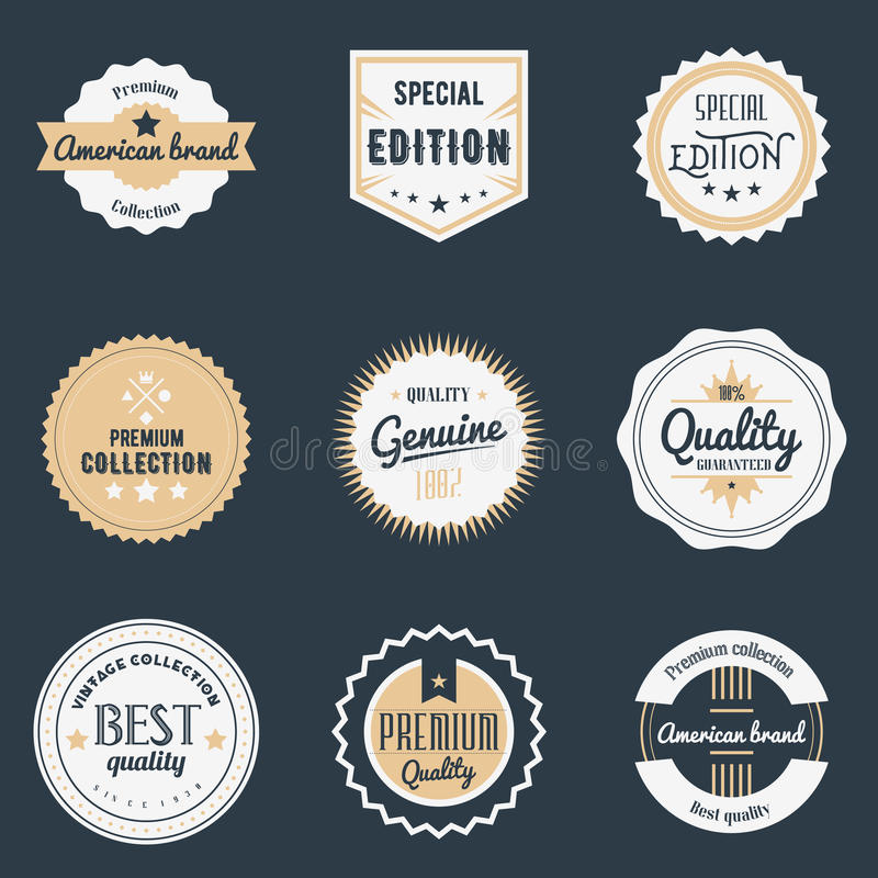 Premii ilości etykietki ustawiać Gatunku projekta elementy, emblematy, logo, odznaki i majchery, również zwrócić corel ilustracji royalty ilustracja