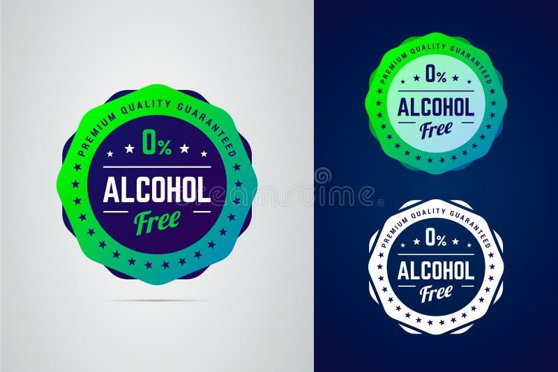 Premii ilości gwaranci bezalkoholowego produktu wektorowa etykietka ilustracji