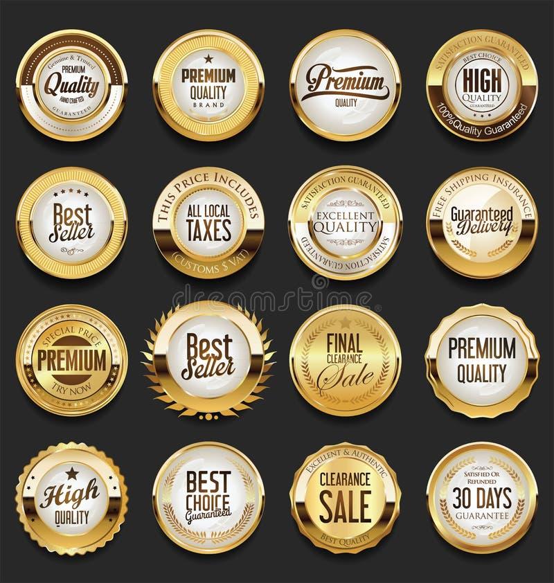 Premii ilości złote etykietki inkasowe royalty ilustracja