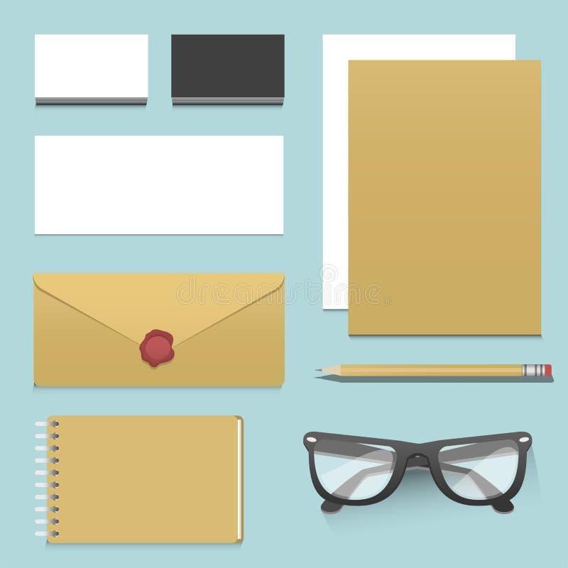 Premii korporacyjnej tożsamości szablonu materiały biznesowego egzaminu próbnego 3d odgórnego widoku wektoru realistyczna ilustra royalty ilustracja