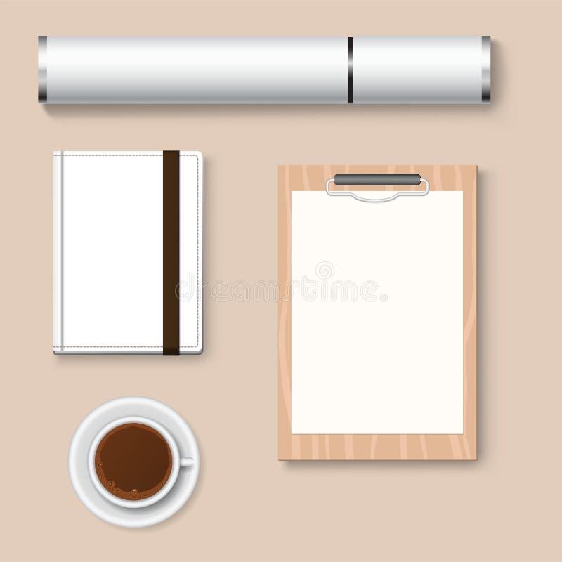 Premii korporacyjnej tożsamości szablonu materiały biznesowego egzaminu próbnego 3d odgórnego widoku wektoru realistyczna ilustra ilustracja wektor