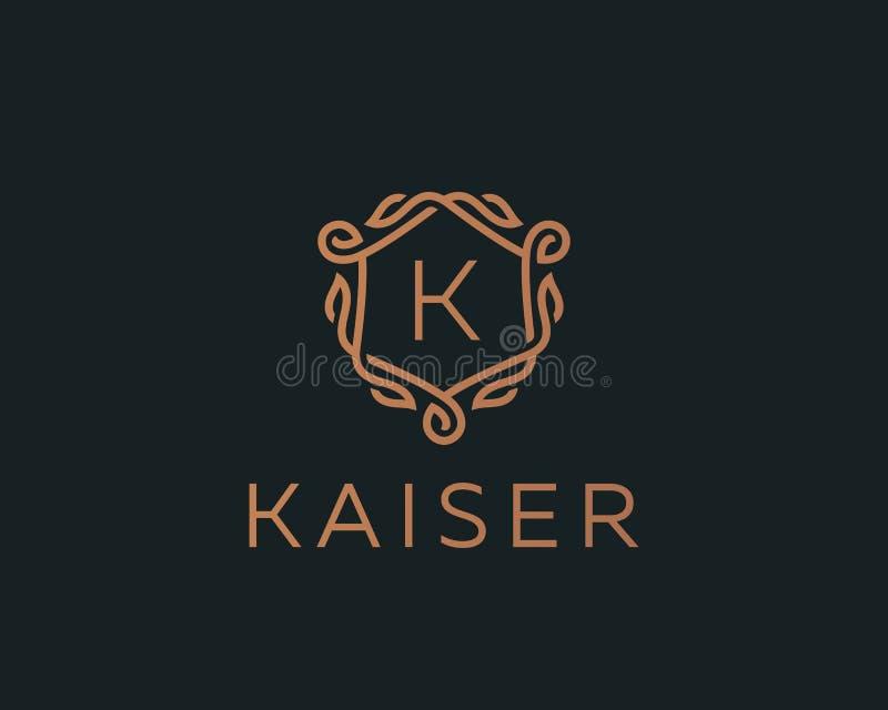 Premii osłony monograma listu K liniowy logotyp Elegancki grzebienia liścia znaczka ikony wektoru logo Luksusowa abecadło rama ilustracji
