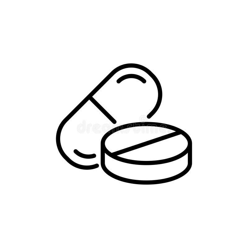 Premii pigułki logo w kreskowym stylu lub ikona ilustracja wektor