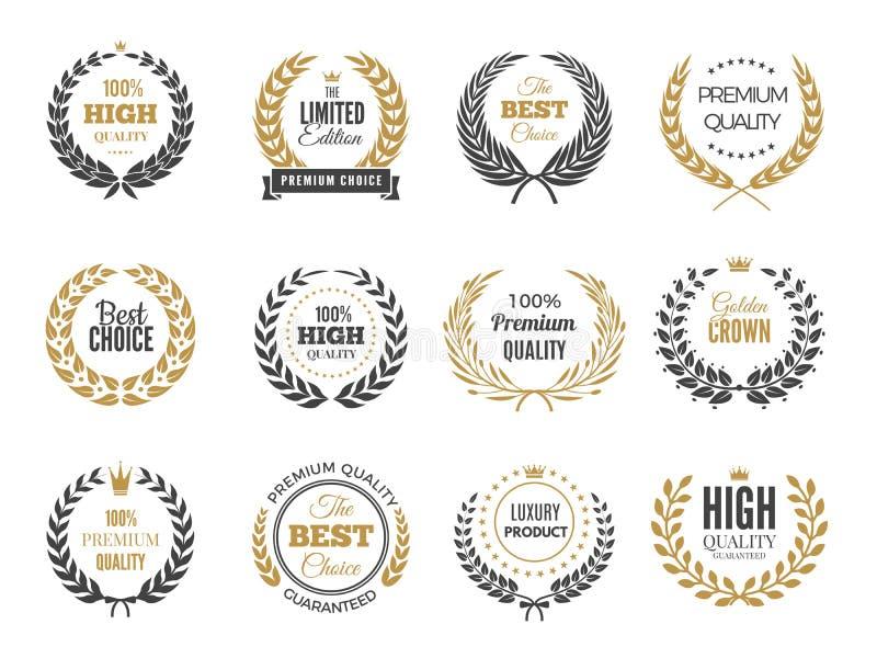 Premii round etykietki Sprzedaży lub zwycięstwa emblemat z round grkiem rozgałęzia się wektorowe odznaki inkasowe ilustracja wektor