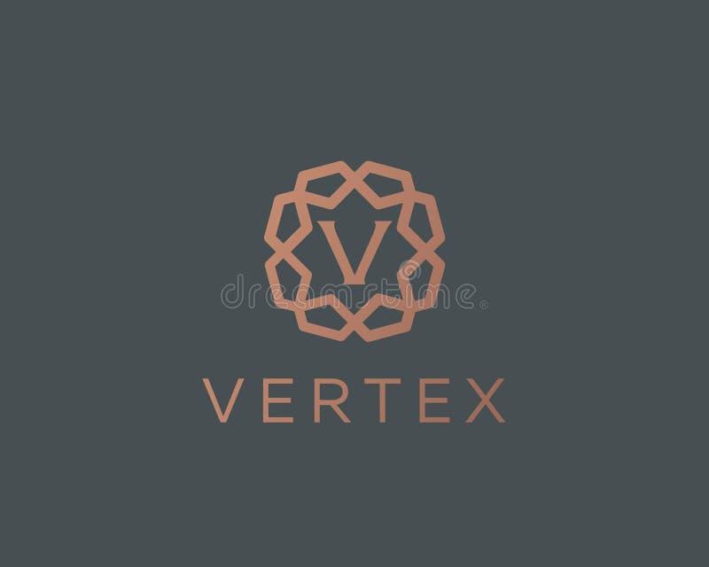 Premii V loga listowej ikony wektorowy projekt Luksusowy biżuterii ramy klejnotu krawędzi logotyp Druku monograma inicjałów znacz royalty ilustracja