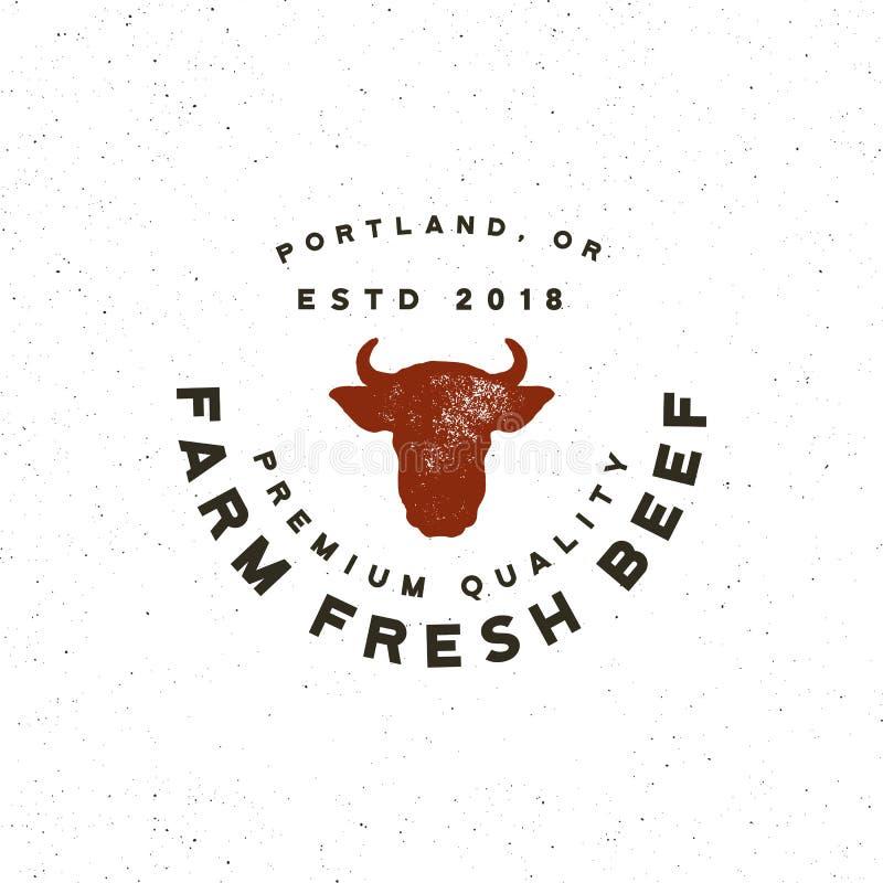 Premii wołowiny świeża etykietka retro projektujący mięsnego sklepu emblemat również zwrócić corel ilustracji wektora royalty ilustracja