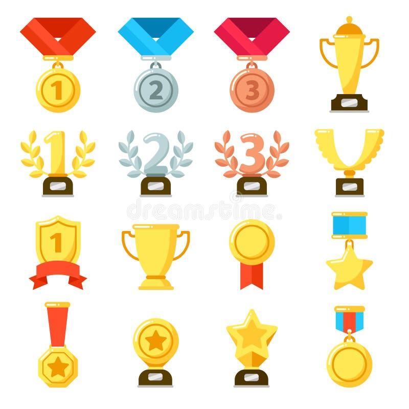 Premio al successo, trofeo dell'uomo d'azione, icona della medaglia di risultati Oro, argento, icone di vettore delle medaglie di royalty illustrazione gratis