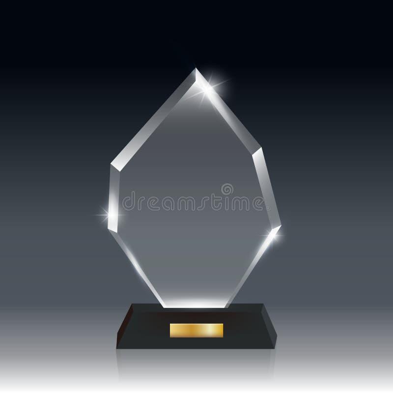 Premio in bianco realistico trasparente del trofeo di vetro acrilico di vettore royalty illustrazione gratis