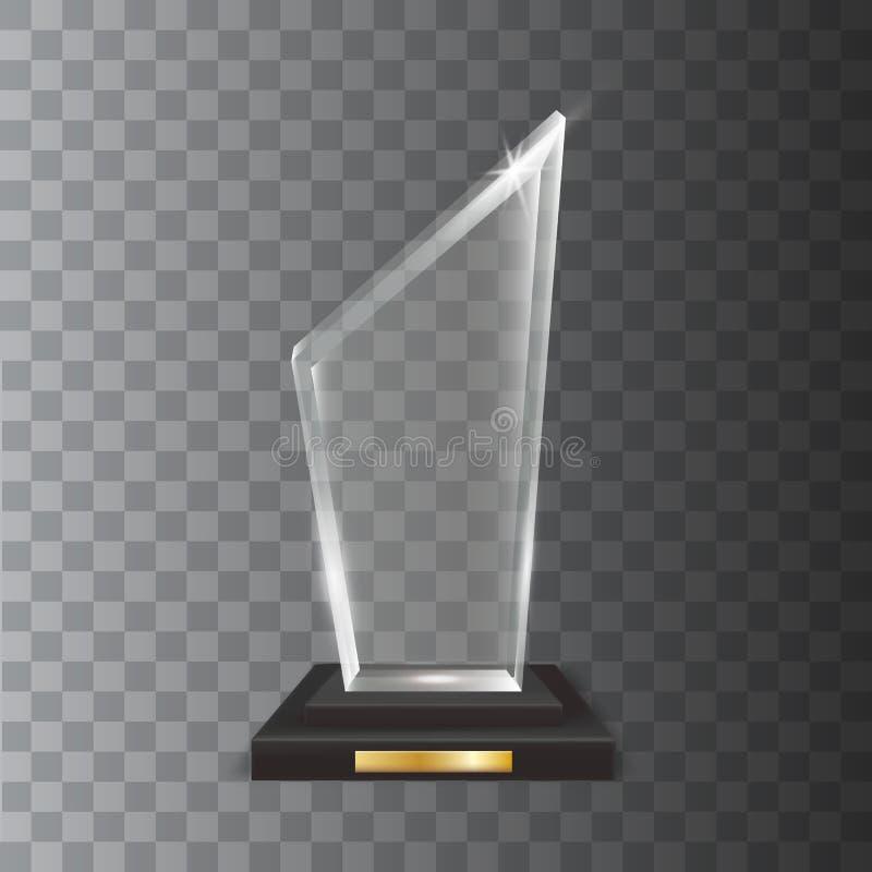 Premio in bianco realistico trasparente del trofeo di vetro acrilico di vettore illustrazione di stock
