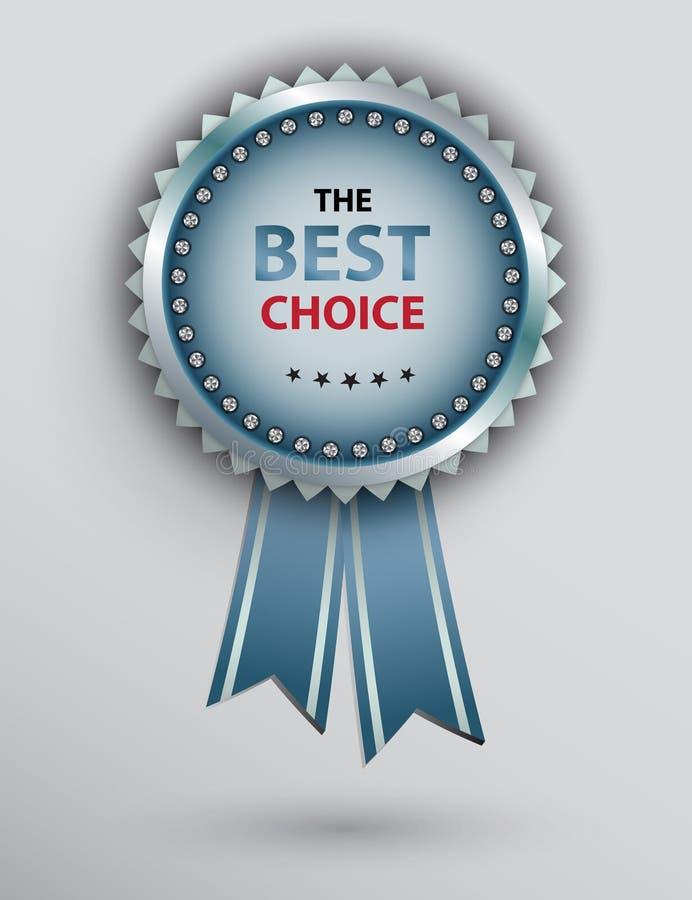 Premio blu del cerchio con i nastri royalty illustrazione gratis