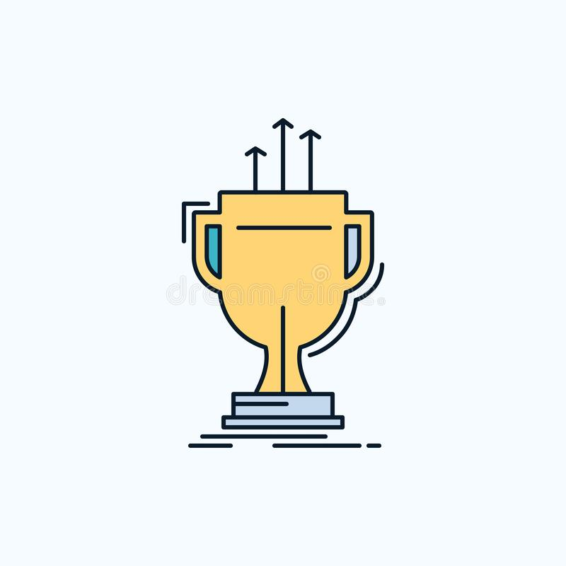 premio, competitivo, taza, borde, icono plano del premio muestra y s?mbolos verdes y amarillos para la p?gina web y el appliation ilustración del vector