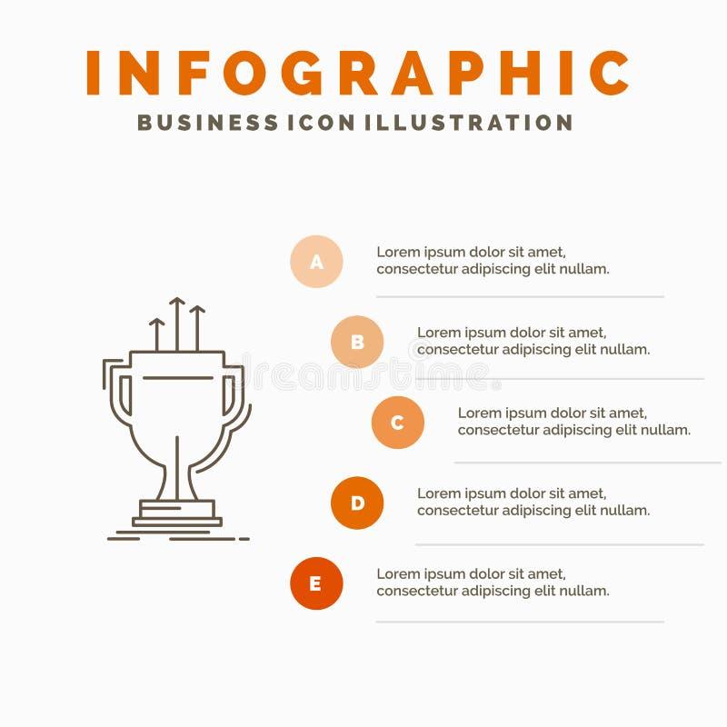 premio, competitivo, tazza, bordo, modello premiato di Infographics per il sito Web e presentazione Linea icona grigia con infogr illustrazione vettoriale