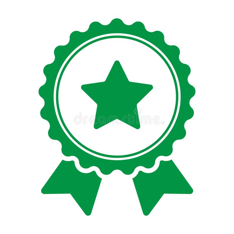 Premio con el icono de la estrella Icono verde de la insignia Ejemplo del concepto del vector para el diseño stock de ilustración